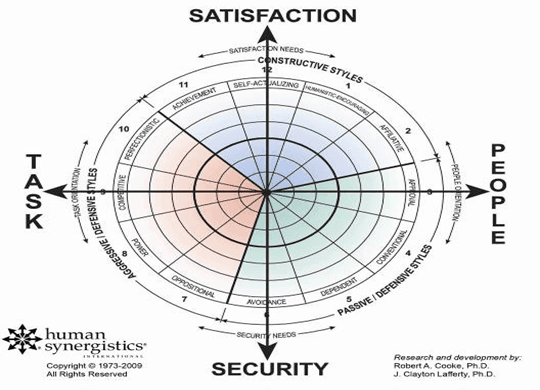 Human Synergistics' Organizational Effectiveness Inventory (OEI) chart