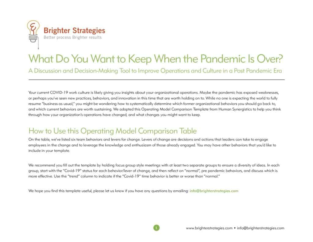 This is a screenshot of the first page of Brighter Strategies' post-pandemic playbook.