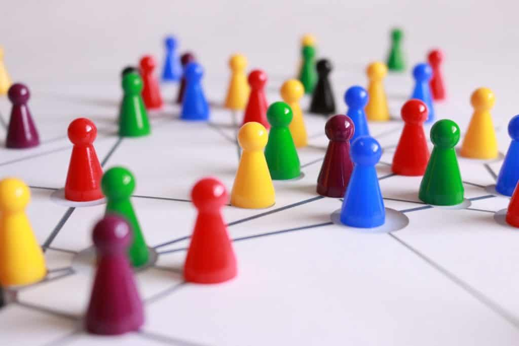 This is a photo of board game pieces on a line map.