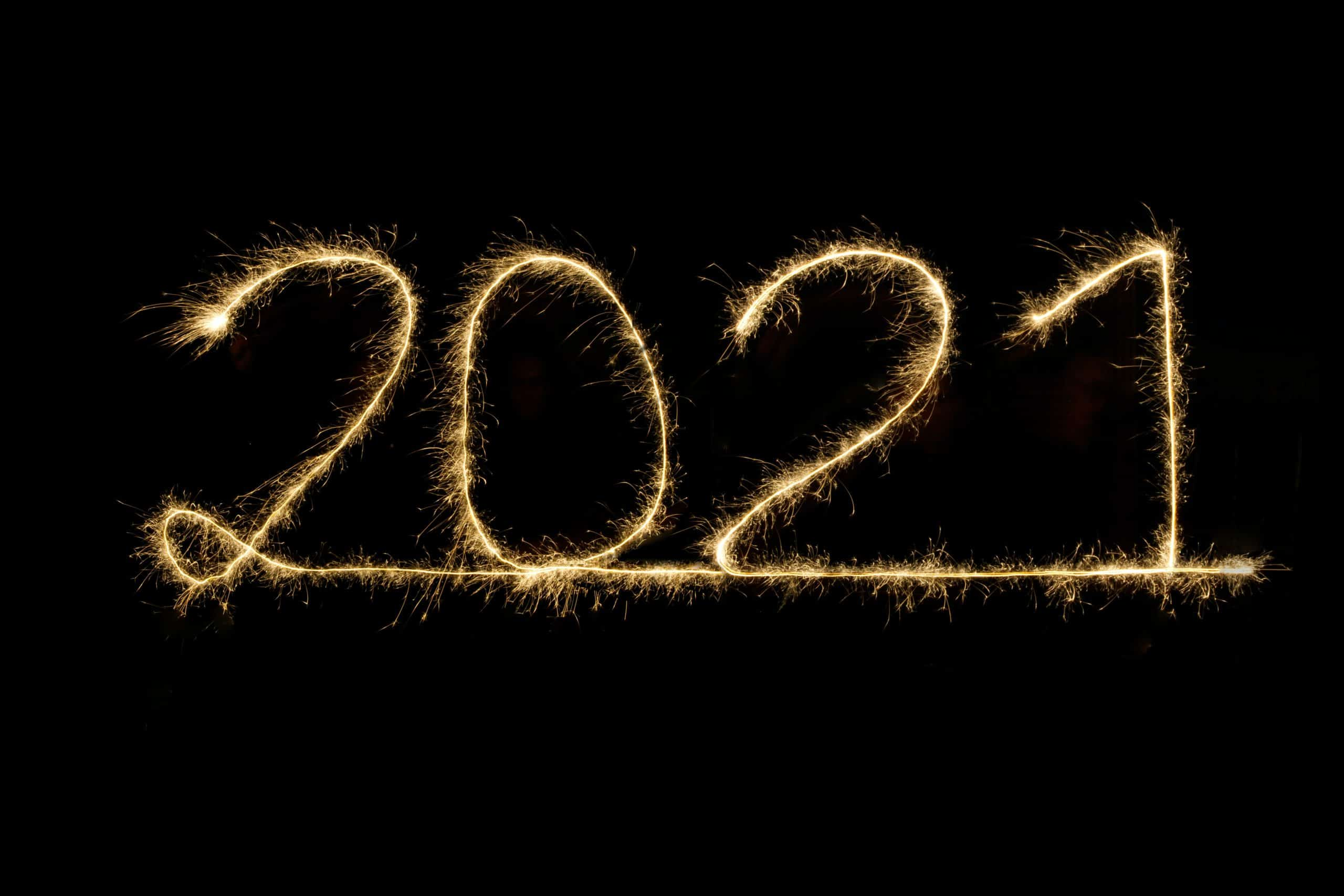 2021 is spelled out in fireworks.