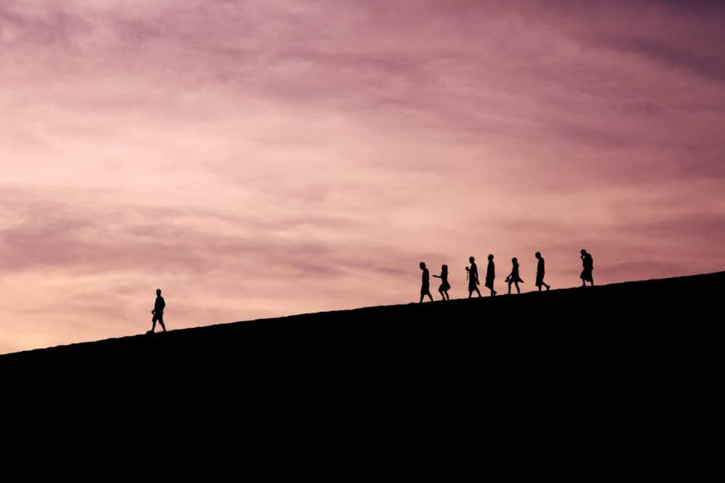 person leading group